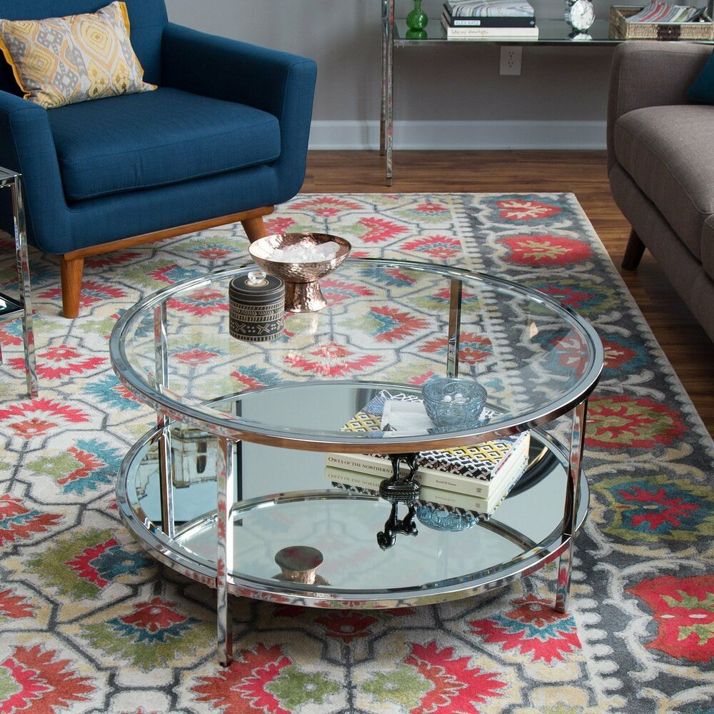 Contemporary Modern Glam Metal Glass Round Silver Coffee Table Shelf Furniture Silver Coffee Table Coffee Table Round Coffee Table [ 1000 x 1000 Pixel ]