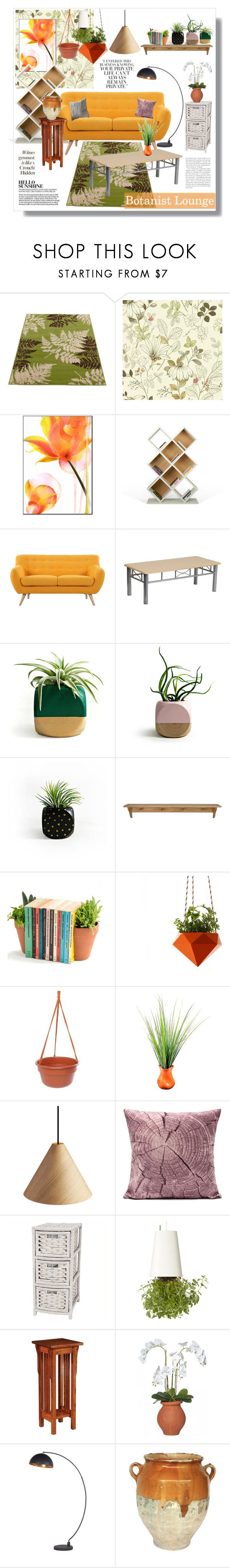 """""""Botanist Lounge"""" by artistic-biscuit ❤ liked on Polyvore featuring interior, interiors, interior design, home, home decor, interior decorating, TemaHome, Madison, Flash Furniture and Bloem"""