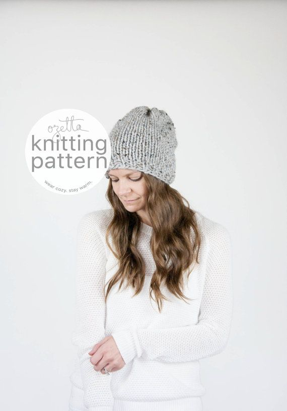 Knitting Pattern Simple Knit Slouchy Hat The Northwood Hat