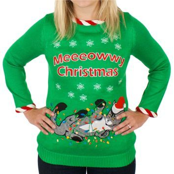 Womens Meowy Christmas Light Up Cat Sweater Cat Christmas