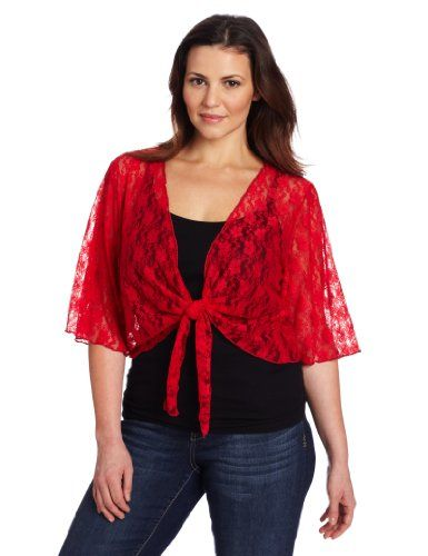 Fashion Bug Women's Plus Size 3/4 Sleeve Lace Tiefront Shrug ...