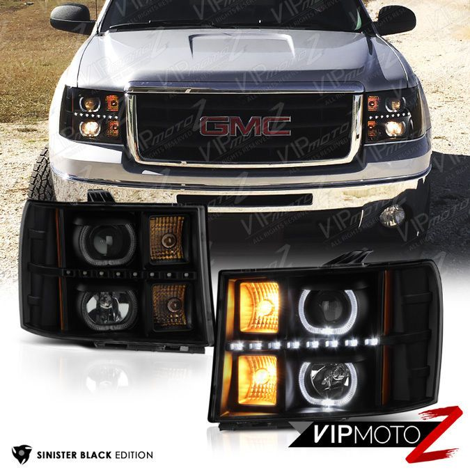2007 2017 Gmc Sierra Sinister Black Halo Projector Led Headlights Lamps Vipmotoz