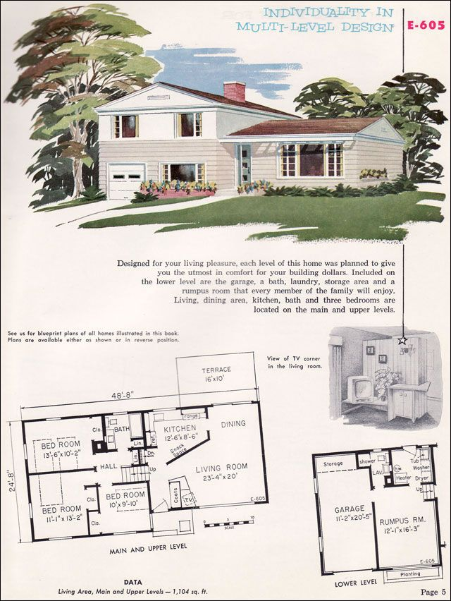 1955 national plan service no e 605 split level angled for Split ranch house plans