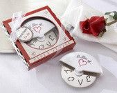 """Mr and Mrs """"A Slice of Love"""" Stainless Steel Pizza Cutter"""