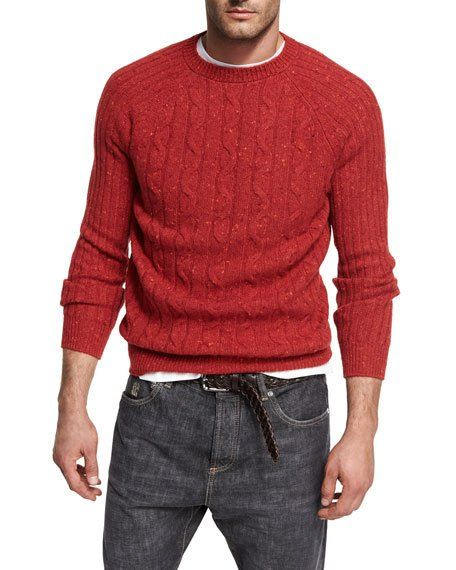 BRUNELLO CUCINELLI DONEGAL CABLE-KNIT CREWNECK SWEATER, RED. #brunellocucinelli #cloth #