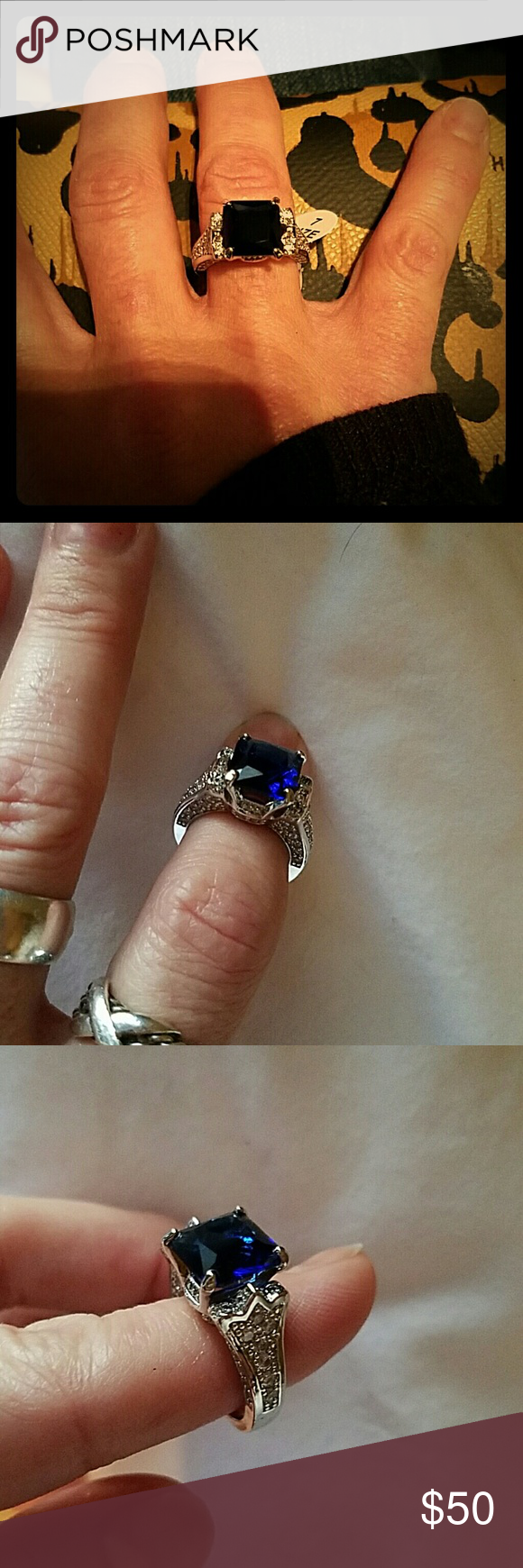 Blue Sapphire sterling silver Ring 925 Blue Sapphire sterling silver Ring Accessories