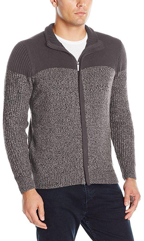 Axist Men s Long Sleeve Full Zip Colorblock Sweater 834d5a881