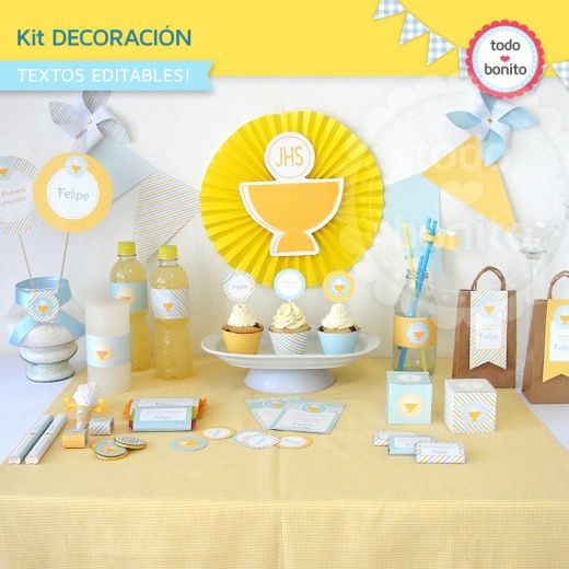Mi primera comuni n varones kit decoraci n comuni n - Decoracion comunion original ...