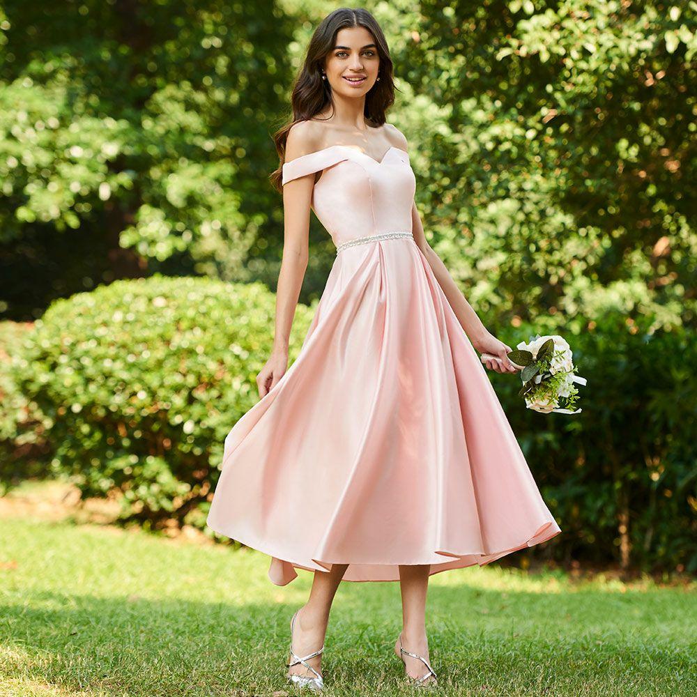 Dressv pink sample a line bridesmaid dress off the shoulder zipper