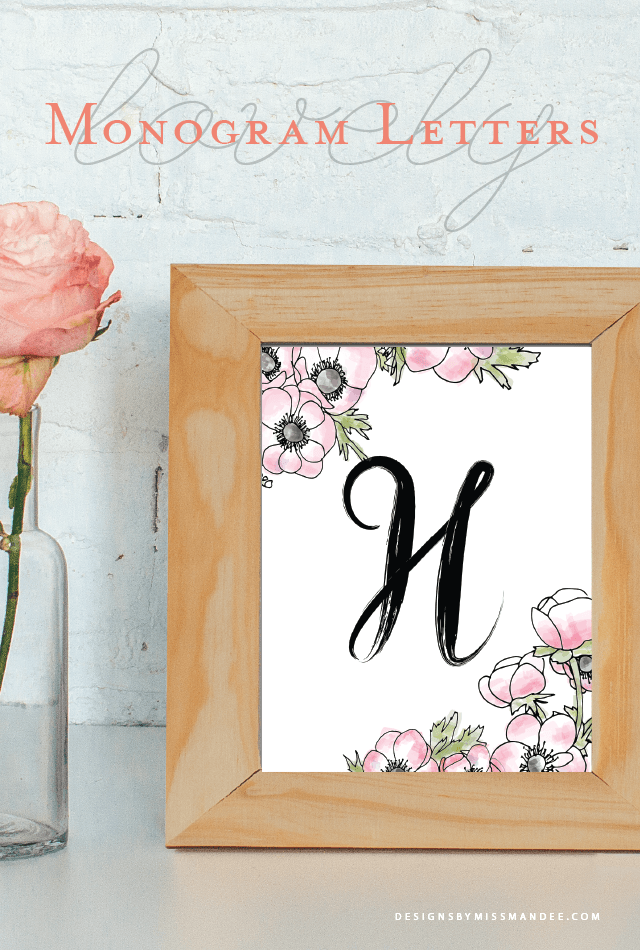 Monogram Letters V2   Designs By Miss Mandee. Free Printable Monograms.  Super Cute Hand Drawn Letters And Watercolor Flowers! Simple DIY Home Decor.