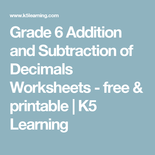 Grade 6 Addition and Subtraction of Decimals Worksheets - free ...