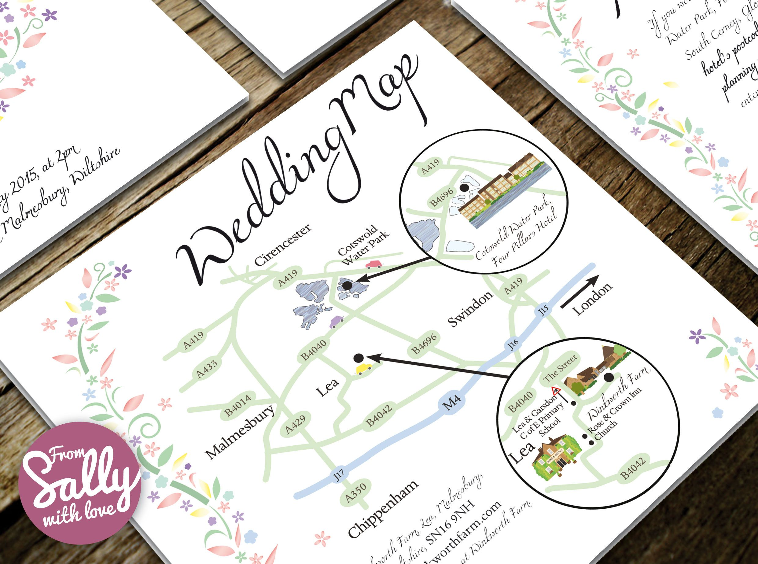Bespoke Wedding Map for Verity and Tom\'s wedding invitations http ...
