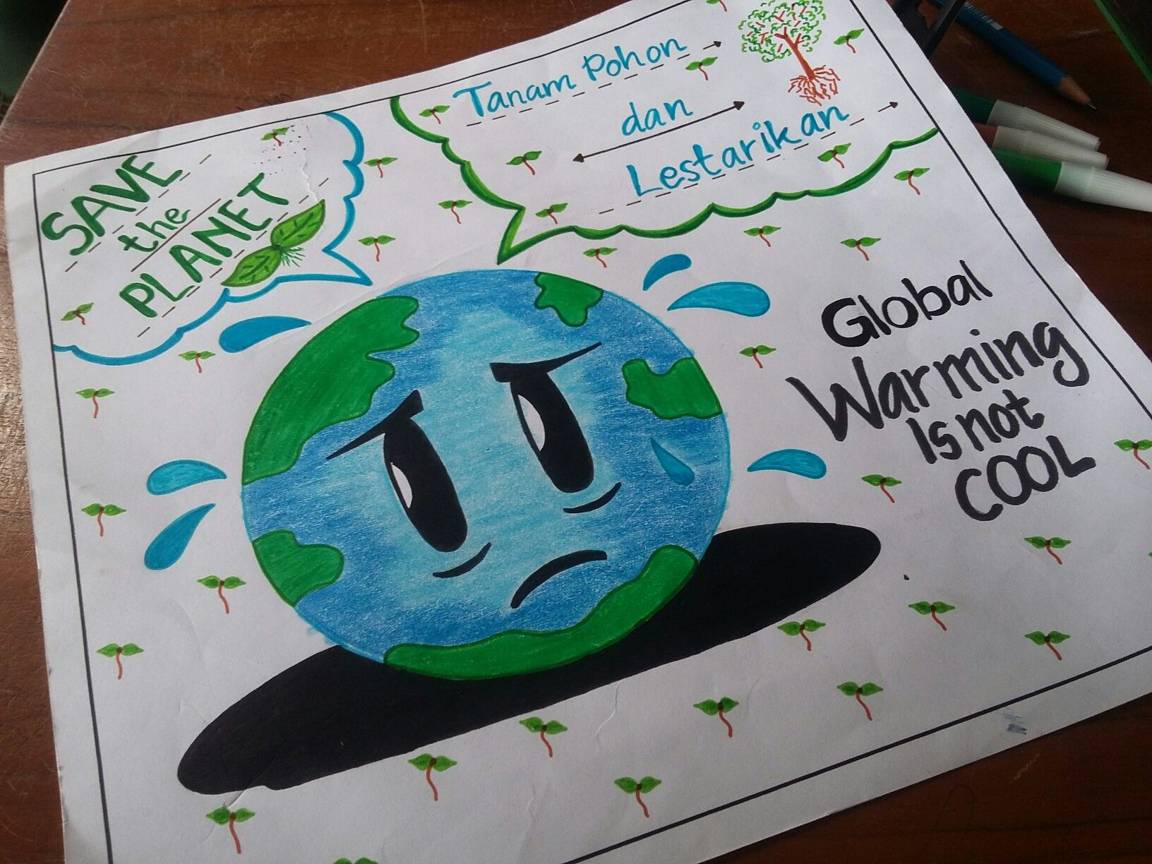 Pin Oleh Alycia Grace Di Slogan Lingkungan Pemanasan Global Pendidikan Seni Cara Menggambar