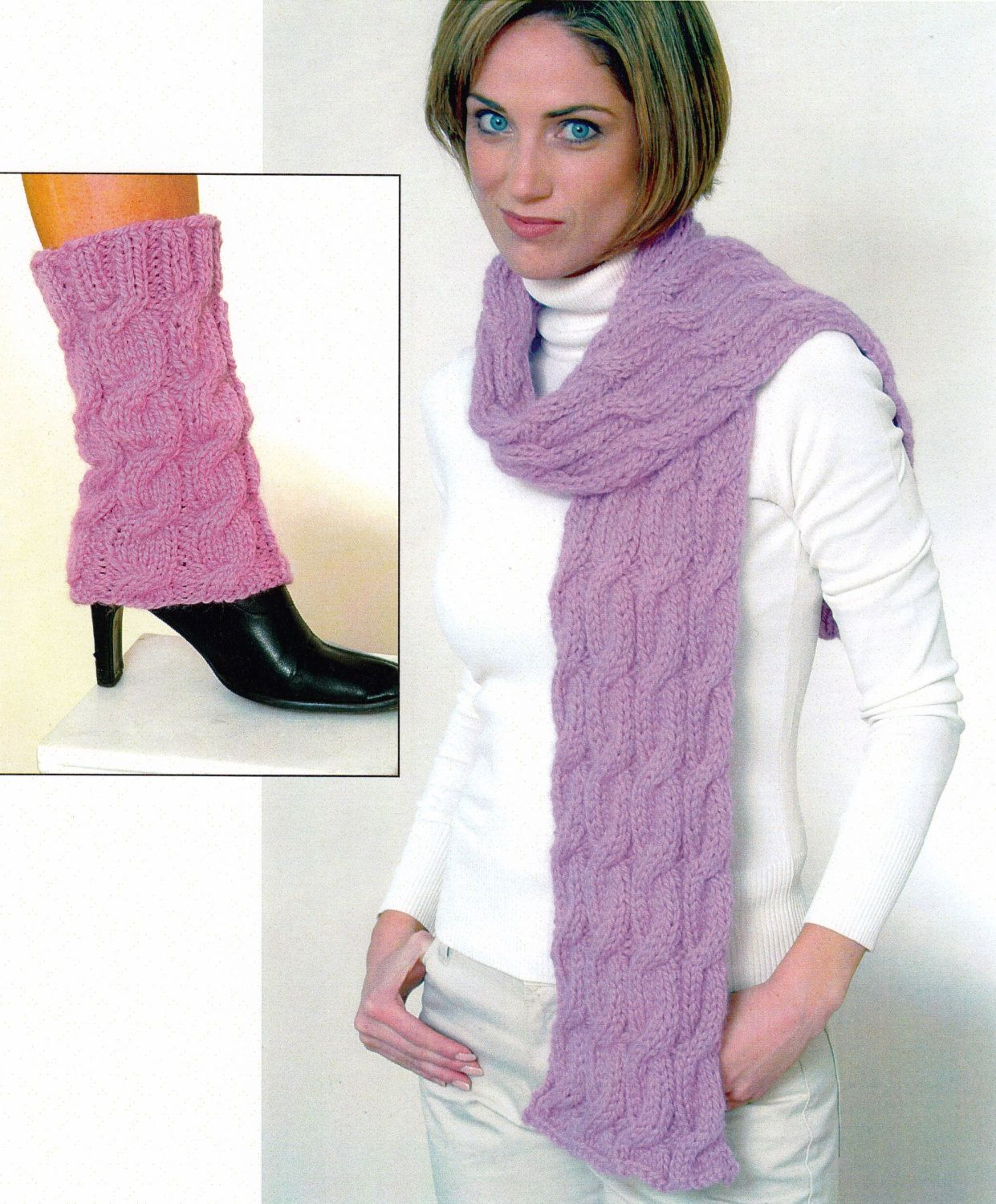 Cabled Scarf and Leg Warmers Knitting Pattern - Knitted Hat and Leg ...