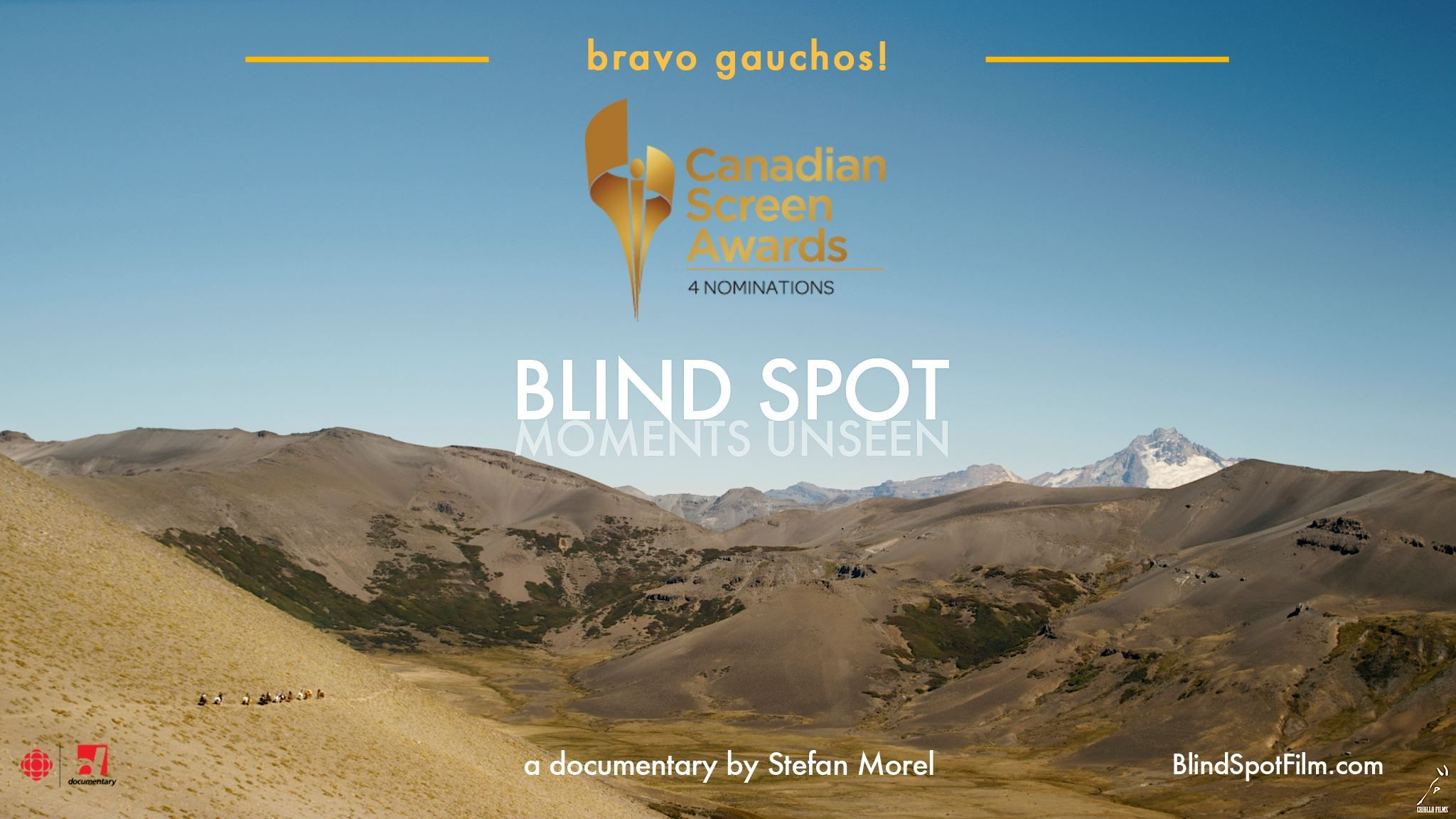 Wednesday  April 6th – Main Theater – 9:00 pm  Blind Spot – Canada  - Documentary – 123 – WINNER  Equestrian Documentary Full – Equestrian International Documentary / 47:08 min / International https://www.facebook.com/BlindSpotMomentsUnseen
