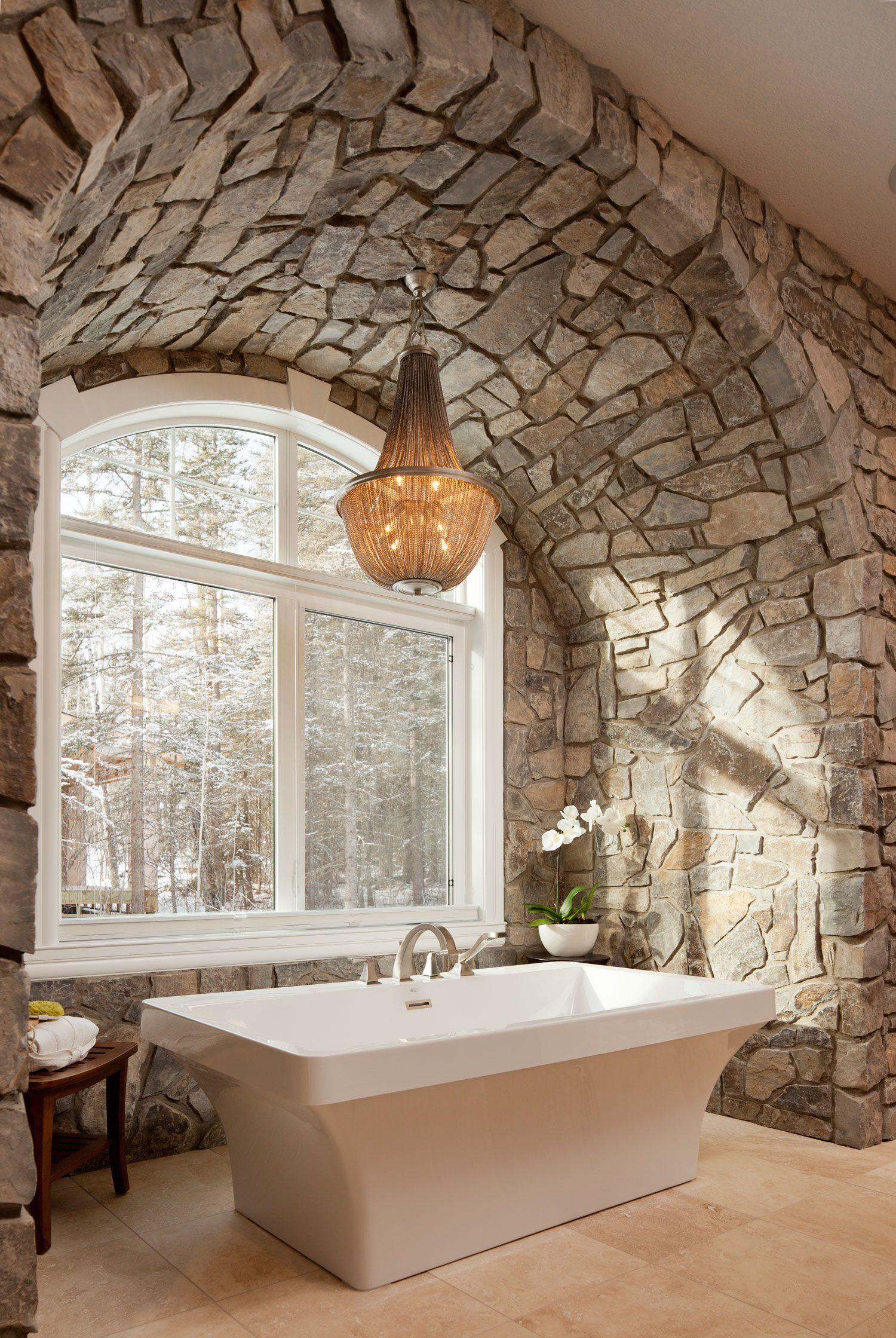 Modern stone bathroom - Moose Mountain Cottage Thin Veneer Modern Stone Thinveneer Bathroom Contemporary