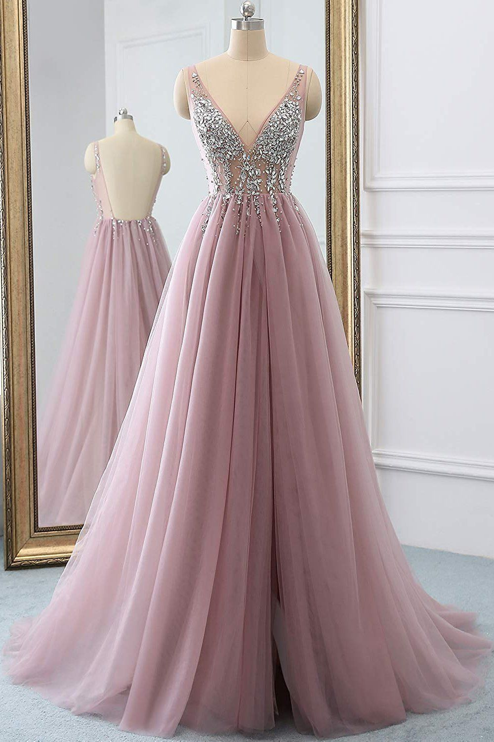 Dusty Pink A Line Tulle Prom Dress Sparkly V Neck Long Graduation Dress With Rhinestone N Senior Prom Dresses Beaded Bodice Prom Dress Graduation Dresses Long [ 1500 x 1000 Pixel ]