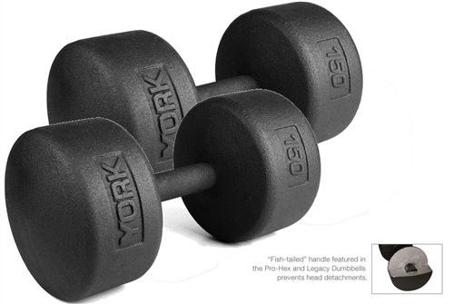 York Barbell 150 lb Legacy Solid Professional Round Dumbbells