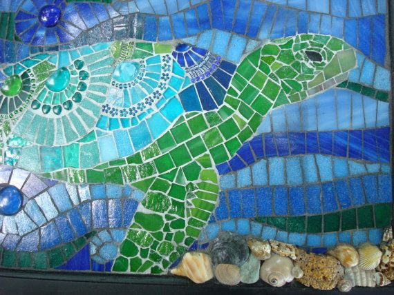 Mosaic Sea Turtle Dreams by FlyingKumquatStudio on Etsy,
