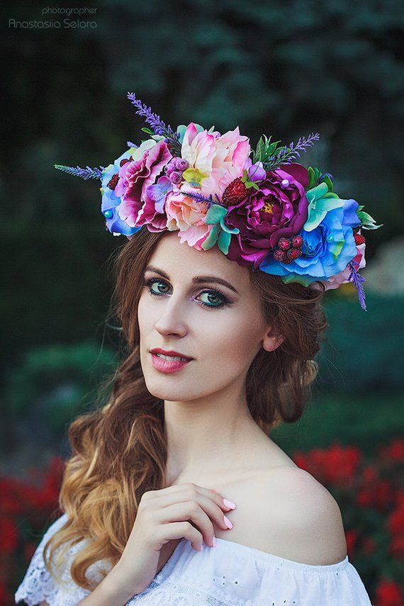 Purple Floral Crown Adult Flower Crown Halo Bright Large Blue Peony Wreath Fairy  Costume Bridesmaids