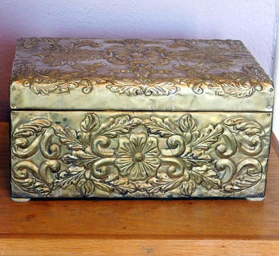 Vintage Embossed Brass Covered Large Box Or Small Chest Repousse Brass W 3 D Floral Design Mid Century Hollywood Regency Dresser Box Large Jewelry Box Small Chest Mid Century