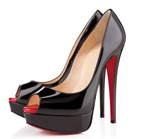 86efb0e897f Black Simple Patent Leather Women Pump Red Bottom Platform Slip-on ...