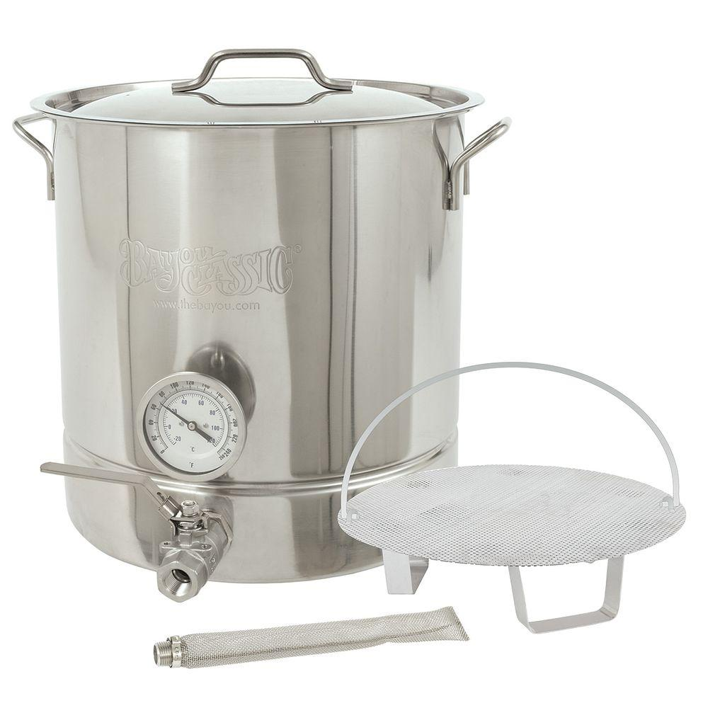 Bayou Classic 10 Gal Stainless Steel Silver Standard Brew Kettle 6 Piece Stainless Steel Kettle Brewing Equipment Bayou Classic