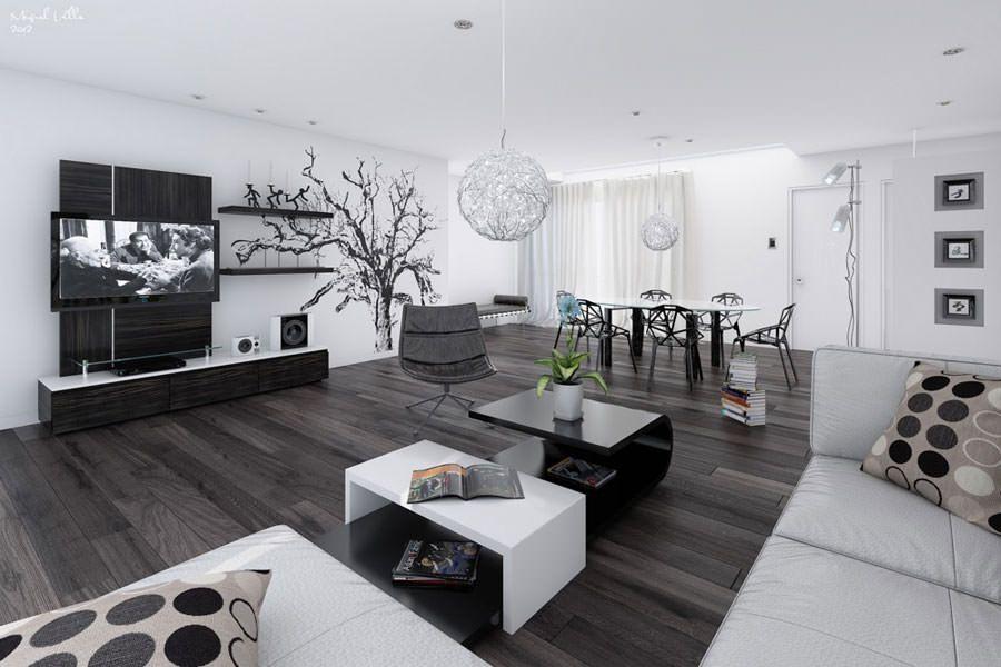 20 idee di design per arredare il soggiorno in bianco e nero Надо