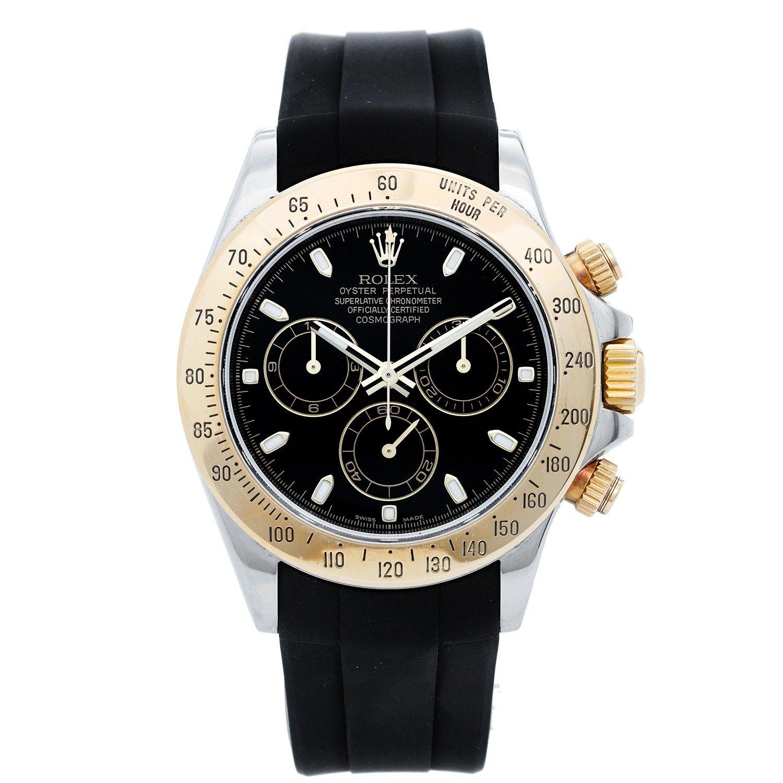 Rolex Daytona Steel Gold 2 Tone Men S Watch Black Rubber Strap 116523 Rolex Daytona Steel Watches For Men Mens Watches Black