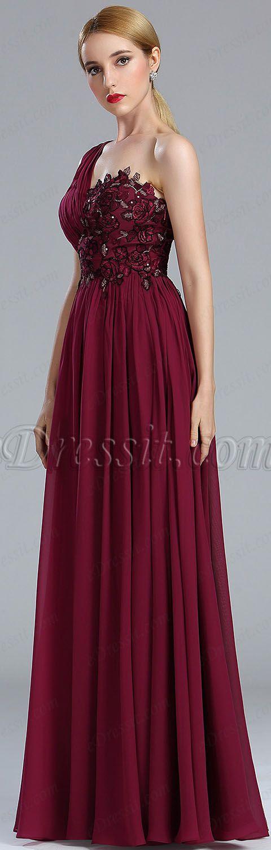 Burgundy Lace Appliques Fancy Evening Gown #eDressit   Beautiful ...