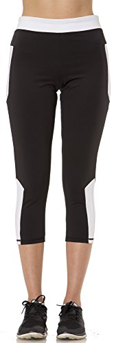 2116 Stay Cool Womens Capri with Color Inserts and Media Pocket in BlackWhite Size M *** Details can be found by clicking on the image.