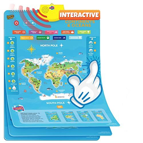 Learn & Climb Interactive World Map for Kids - Set of 5 Electronic Talking Posters with Over 1000 Facts Learn & Climb