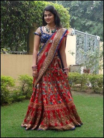 Blue And Red Indian Wedding Dress Traditional Indian Attire