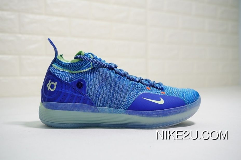 d26651a759a Spring Superman Shoes NBA Ball Kevin Durants Signature Style Nike Zoom KD11  EP Generation FLYKNIT Mid Top Also Shoes The Color Navy Blue Volt  AO2605-90013 ...