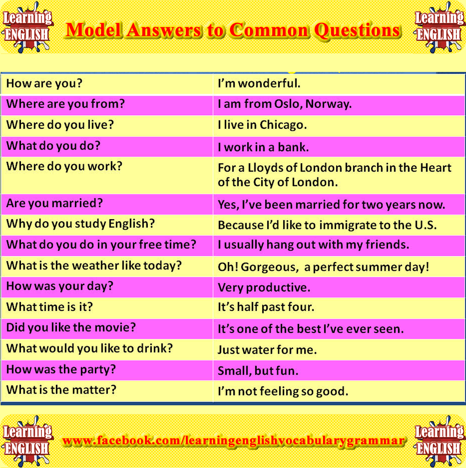 Model Answers to Common English Questions | skyENG teach by
