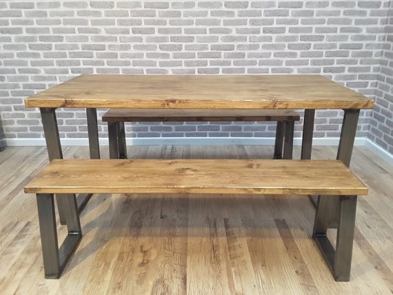 Industrial Dining Table And Bench With Silver Steel Leg Bespoke Office Restaurant Furniture Rustic Kitchen Table Rustic Kitchen Tables Dining Table Industrial Dining Table