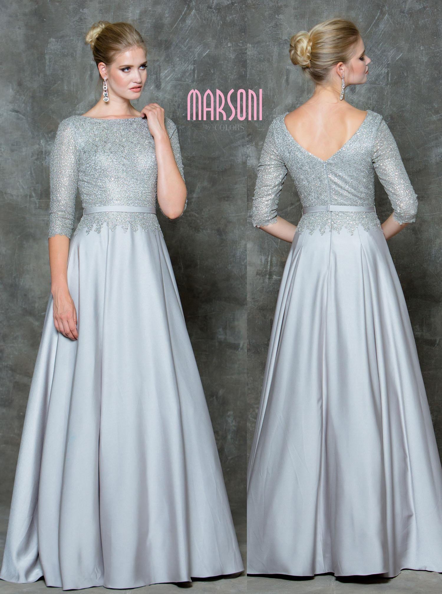MARSONI M182 Dazzling Half Sleeve Mother of Bride Evening Dress ...