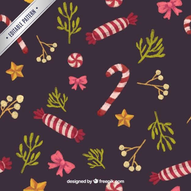 Christmas sweets pattern Free Vector