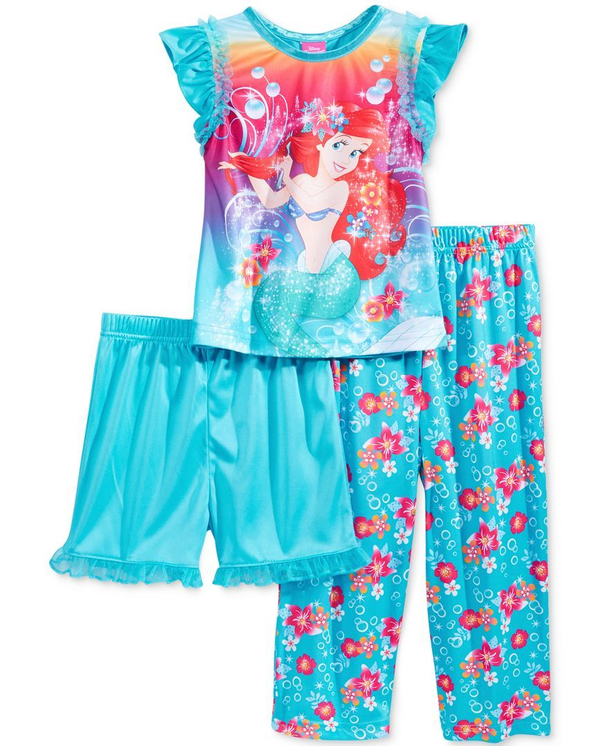 7e77332d40 Disney Princess Toddler Girls  3-Piece Little Mermaid Ariel Pajama ...