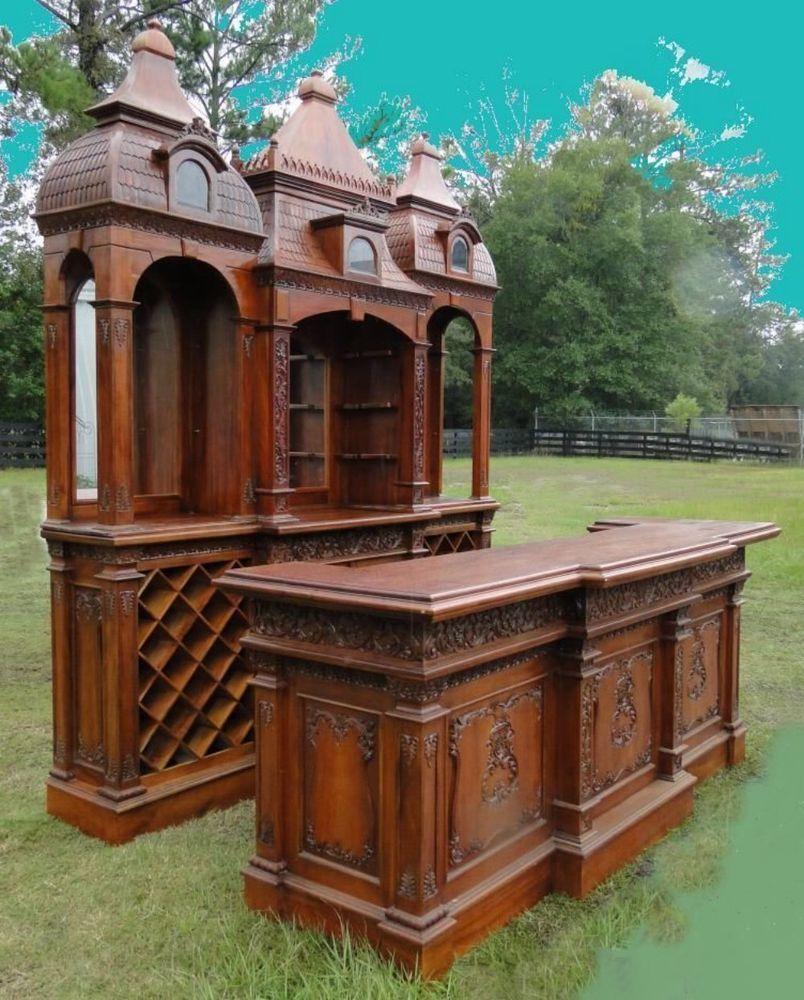 Antique gothic revival furniture for sale - Giant Empire Massive Antique Vintage Bar Furniture Victorian Gothic Revival Big