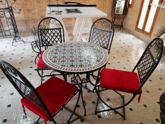Table de jardin Chaises en fer forgé – Ensemble de jardin ...
