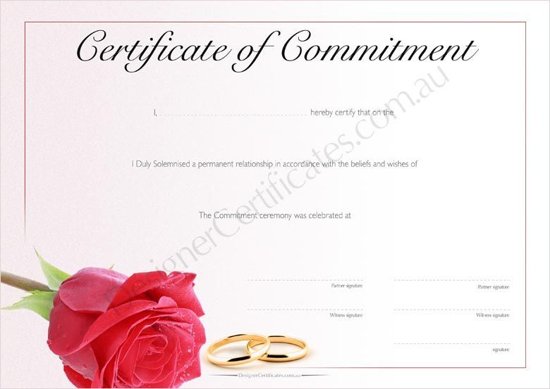 Commitment Certificate - Red Rose. Only AUD $5 | Commitment ...