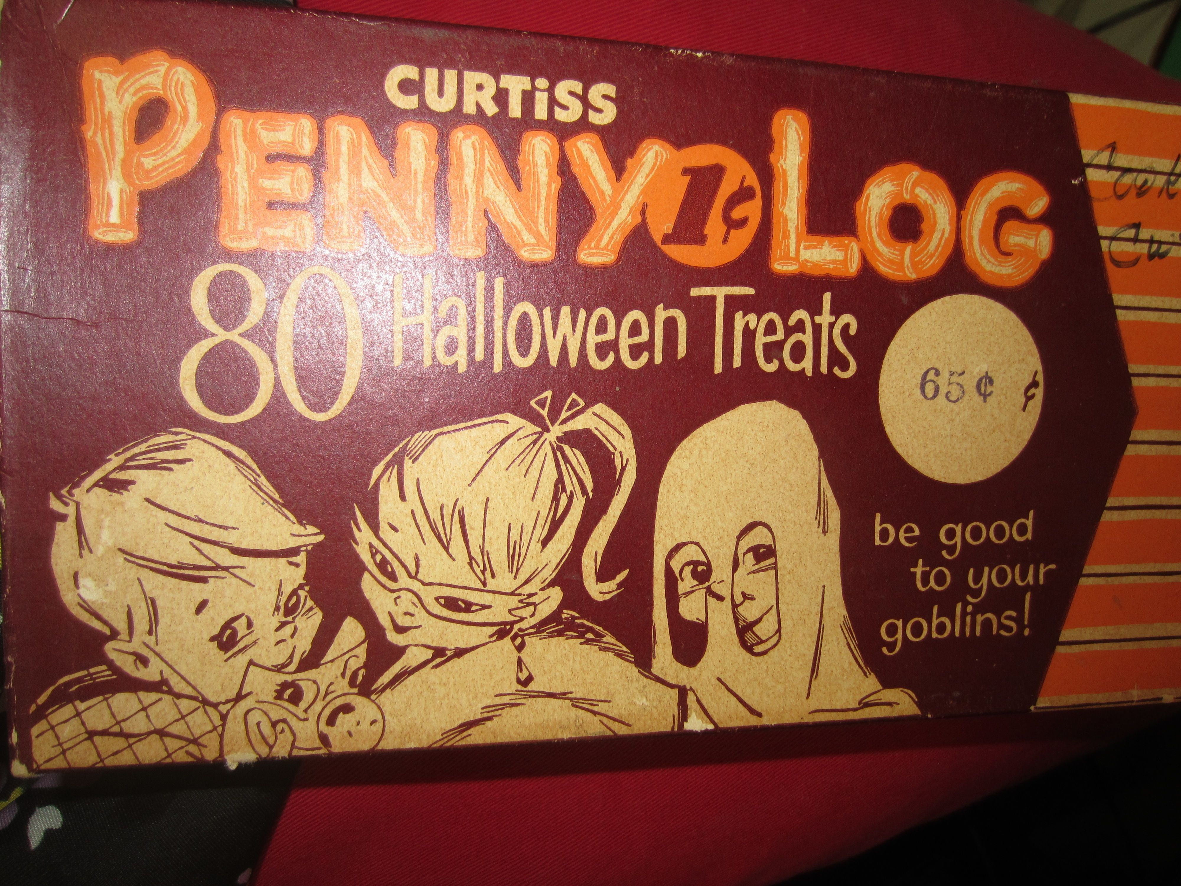 vintage curtiss penny log 1 cent halloween candies box top kitschy cute - Top Ten Halloween Candies