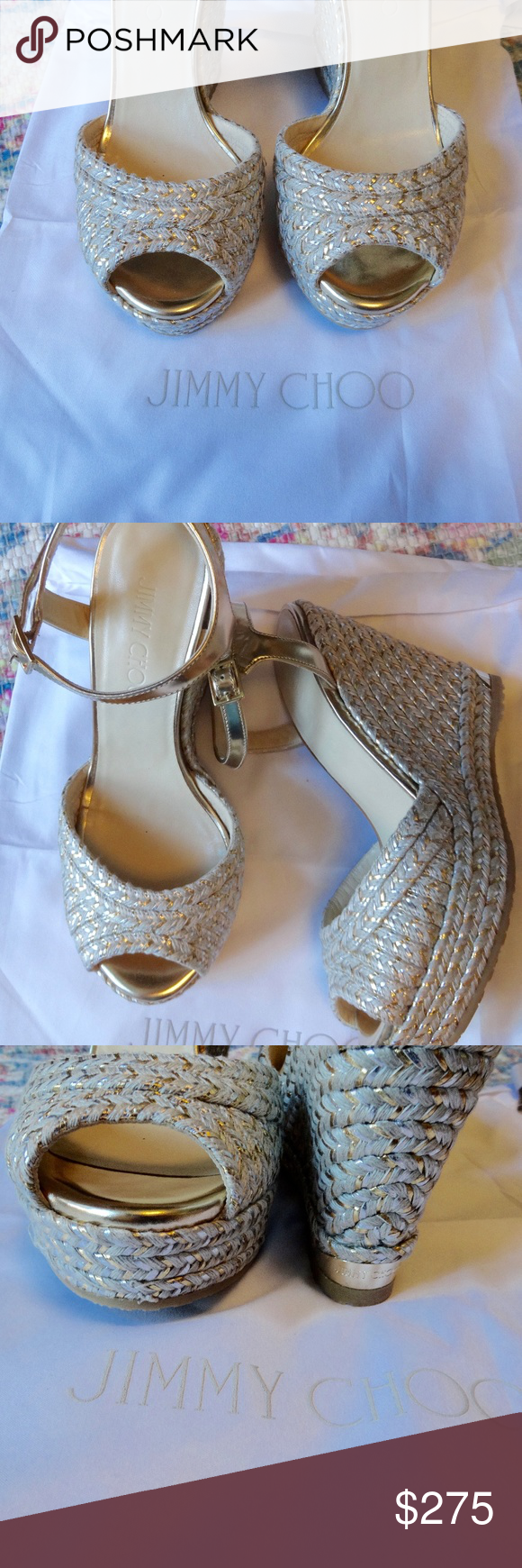 b605c6b9c9ba Jimmy Choo Perla Wedge Perla wedge in tan. The shoes also have gold and  silver details. Adorable. Jimmy Choo Shoes Wedges