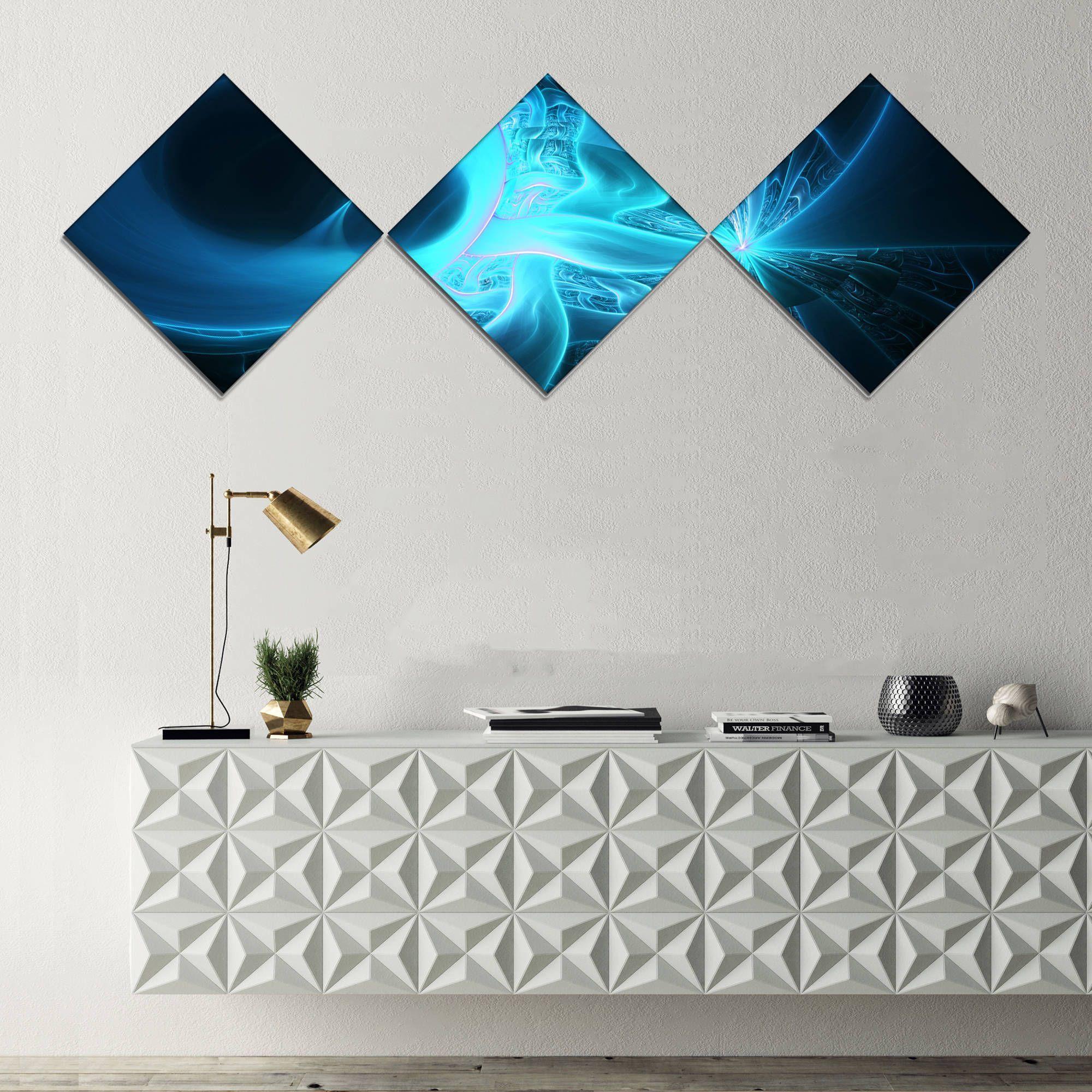 Designart ushining bright on blacku abstract wall art canvas