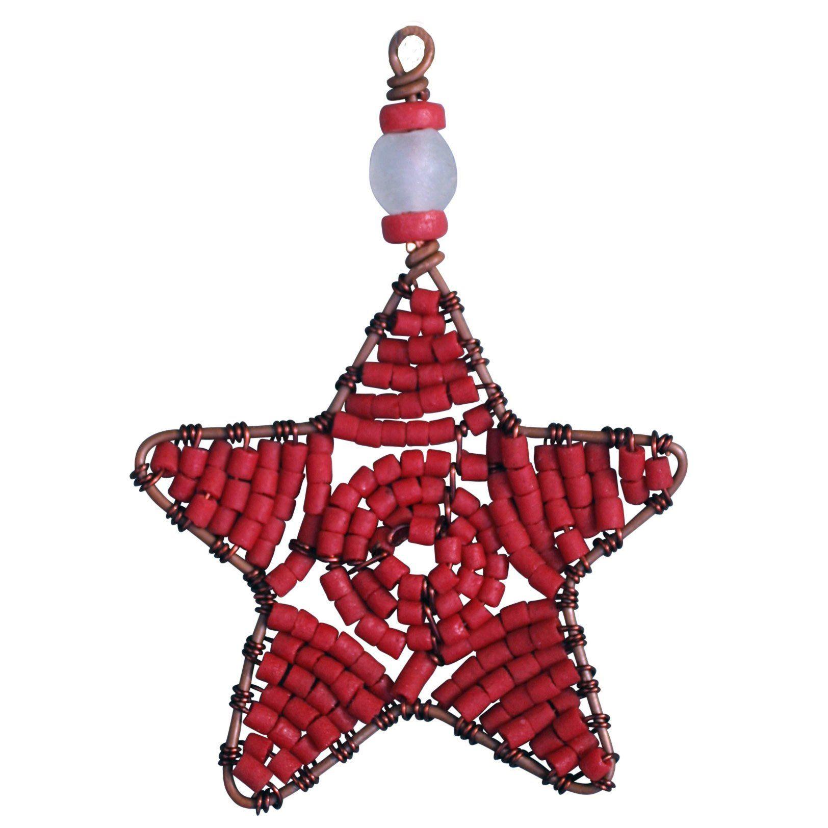 Beaded Star Ornament Red  Global Mamas (H) Diy Ornamentsholiday