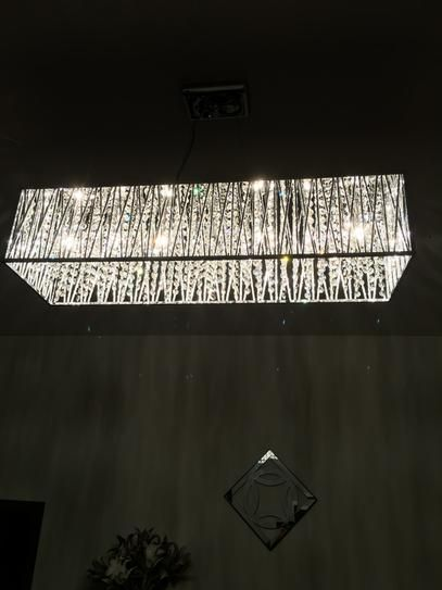 DSI 7-Light Chrome Rectangular Pendant with Woven Laser Cut Crystal Shade