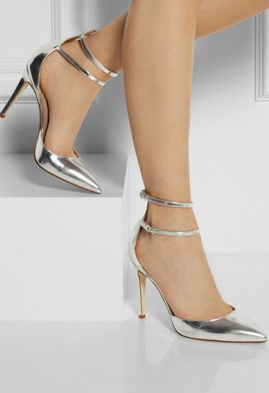 Strappy Metallic Leather Pumps