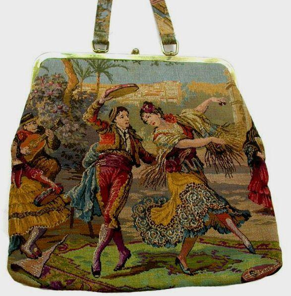 """my """"carpetbagger""""  tapestry-needlepoint vintage bag !   kitshy kitshy ay ay ay !! :-)"""