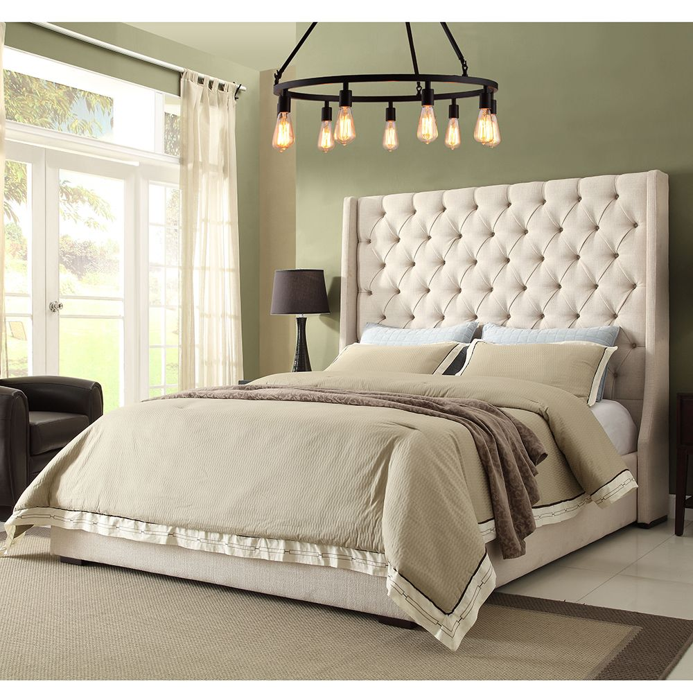 diamond sofa park avenue queen bed tall diamond tufted headboard in desert sand linen
